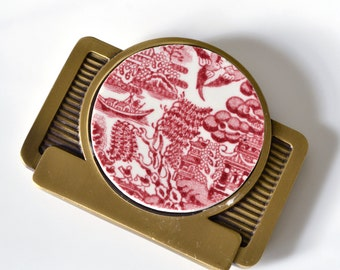 Simple Circle Recycled China Belt Buckle - Red Willow Ware on Brass