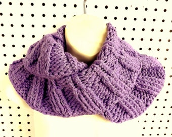 Purple Knitted Scarf, Knit Infinity Scarf, Cowl Scarf, Amethyst Scarf, Purple Scarf, Womens Scarf, Knit Infinity Cowl Scarf, RIBBED Scarf