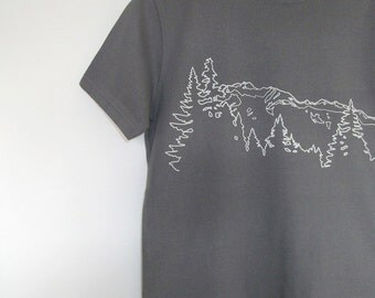 Mens Organic Cotton T Shirt - Mens Graphic Tee - Grey T Shirt - Mountain Ridge TShirt - Organic Cotton Shirt - Screen Print Shirt