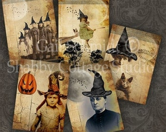 Witchcraft Digital Collage Sheet - Instant Download - Printable Halloween Tags -  ATC ACEO Backgrounds - Altered Art - Greeting Cards