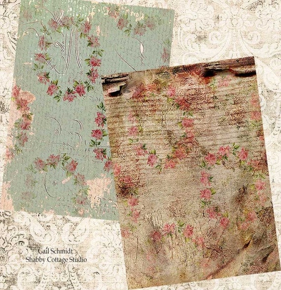 INSTANT DOWNLOAD DIGITAL  Faded and Peeling Wallpaper Roses Backgrounds Tags Journal Pages Scrapbooking Greeting Cards