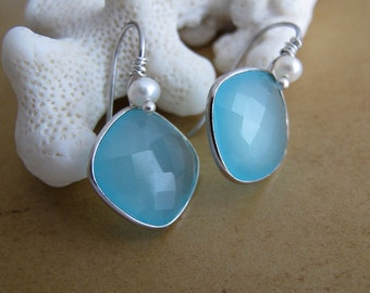 Minty Candy - sterling silver pillow shaped chalcedony earrings