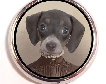 Dachshund Dog Pill box Pill Case Holder Pillbox Puppy Woman Surreal Anthropomorphic Art Weiner Dog Vitamins Medicine Guitar Picks