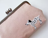Handmade purse with embroidered Dalmatian dog rose pink linen dog purse one of a kind dusty pink clasp purse white black pet pastel