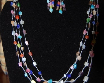 Multi-strand Cat's Eye Necklace and Earring Set