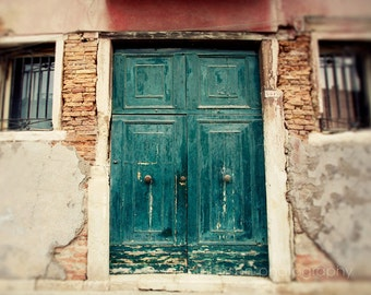 door photography, venice, italy photography, europe art, teal blue decor, brick decor, architecture, travel photography, The Teal Door V15