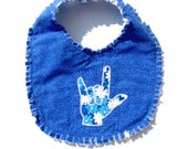 ASL I Love You Hand Blue Floral Baby Bib - Reversible Raggy Style