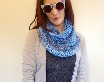 Blue Multi Stripe Ombré Infinity Scarf - Handmade Knitted Striped Mermaid Cowl Scarf - Handknit Ecofriendly Recycled Upcycled Yarn Scarf