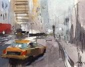 Art Print Urban Cityscape Taxi New York City Sketch - Lone Taxi by David Lloyd