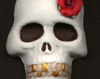 Polymer Clay  Skull  with a porcelain rose Undrilled Cab SKLC 3