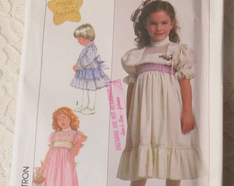 Simplicity 8404 Sewing Pattern Made In Heaven Dress with Ruffles, Size 5 Girls Vintage 1980s