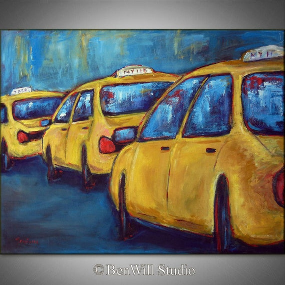 New York City Painting ORIGINAL Yellow TAXI Painting - Large Modern Pop Art Painting - 36x28 by BenWill