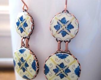 Portuguese jewelry, Spanish jewelry, dangle earrings, statement earrings, Blue and white azulejos tile pattern, Ethnic earrings, Folk art