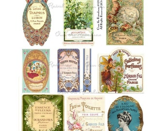 Vintage French -  French Perfume - Perfume Labels - Instant Download - Digital Collage Sheet 1215 - Soap Labels - French Ephemera - French