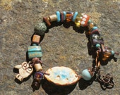 Lovely Lampwork and Pottery Focal Bracelet with Awesome Owl in Earth Tones and Teals