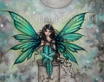 Little Green Fairy - Fantasy Art by Molly Harrison 8 x 10 Fine Art Archival Print