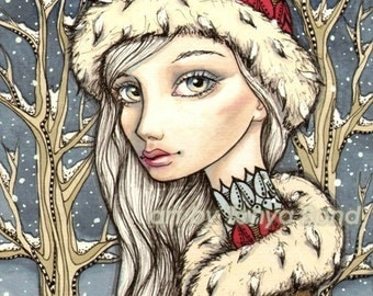 Winter Rose - 5x7 print of a pen and ink illustration by Tanya Bond - surreal pop - big eyes snowflakes fashion fairy fantasy art