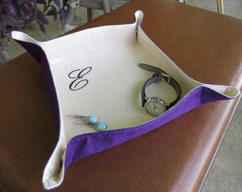 Custom Travel Tray Valet for Jewelry Accessories Silk Dupioni Custom Personalized