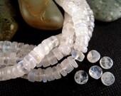 135 Rainbow Moonstone Beads, 2x5mm, FULL Strand, Opalescent Moonstone, Heishi Beads, Blue Flash, Tiny Moonstone, White Labradorite MSTW