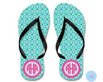 Monogrammed Flip Flops | Personalized Flip Flops | Monogrammed Flip Flops Bridesmaids | Destination Wedding Thongs | Cruise Ship Flip Flops