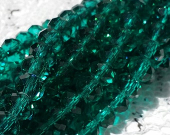 Glass Beads - 42 pcs -  Blue Green Beads - Sea Green Beads - Faceted - 6mm x 4mm - Rondelles