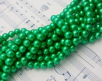 Glass Pearl Beads - 42 pc - 8mm Green Pearls - Green Glass Pearl Beads - Green Glass Pearls - Round - Dyed - #2