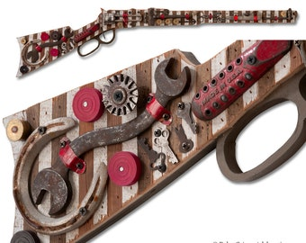 Rifle Wall Sculpture with Lucky Horseshoe