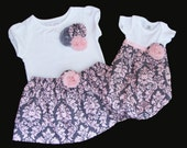 BOUTIQUE ..sibling set in SHABBY CHIC...baby gown and outfit