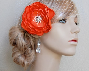 Wedding Hair Clip, Bridesmaid Fascinator, Flower Girl, Orange Hair Flower, Wedding  Head Piece - Orange Petals
