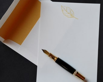 Gold Leaf, luxury stationery set, upscale writing set, hand written letters, 30 pieces, letter writing set