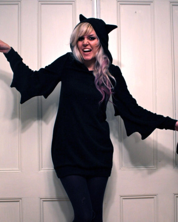 Black Knit Bat Dress MADE TO ORDER