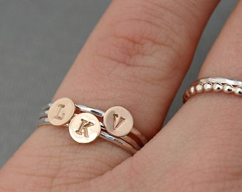Mixed Metal Jewelry , Mixed Metal Stack Rings , Custom Initial Rings , Personalized Jewelry