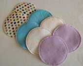 Soft Cotton Flannel Nursing Pads, 4 Pair in Lavender, Cream and Aqua, Flannel and Bamboo/Cotton Fleece