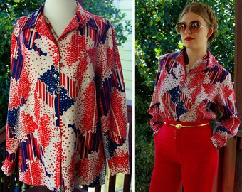 ABSTRACT 1960's 70's Vintage Red White + Blue Polyester Button Down Disco Shirt with Pointed Collar // by PYKETTES // size Medium Large
