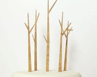 Trees Cake Topper Set - Bamboo - Wedding Cake Topper - Rustic Wedding - Modern Wedding