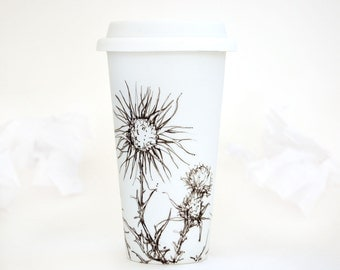 Ceramic Eco-Friendly Travel Mug - Thistles | Drawing Collection