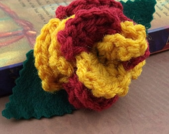 Crocheted Rose Barrette - Red and Gold (SWG-HB-HWGR01)