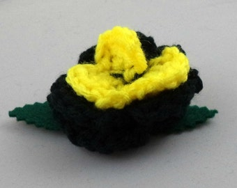 Crocheted Rose Lapel Pin - Black and Yellow (SWG-PL-HEBM01)
