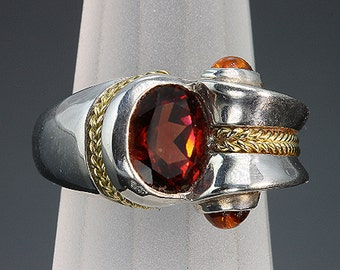Sterling Silver, 18K, Garnet and Citrine Ring by Cavallo Fine Jewelry