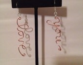 Love You Copper and Silver Earrings