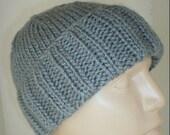 Grey watch cap, slouchy hat, ribbed beanie, silver grey knit hat, men's hat, women's hat, slouchy beanie, toque hat, biker cap, ski shred