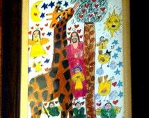 Original Outsider Folk Art Jesus Buddha Angel Giraffe Love  Happy Drawing Framed Glass
