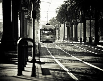 Morning by the Bay - San Francisco Photography - Black and White Trolley Print, California, Travel, Vacation, Cable Car, Street, Scene