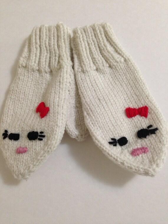 Hello Kitty Mittens Knitting Pattern : Hello Kitty Mittens