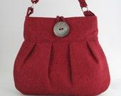 Red tote bag - messenger bag  -fabric purse- womens handbag- crossbody bag- cross shoulder bag- everyday bag- red purse