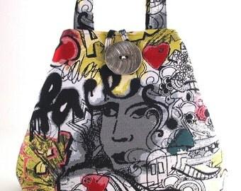 greffiti art bag, tote bag , shoulder tote, hobo bag ,womens purse, black handbag, diaper bag, shoulder bag, urban bag