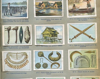 """French """"Lake Dwellers"""" Stickers  Page from Children's Book Primitive People Jewelry Tools 930s Stamps Labels """"Au Temps Des Lacustres""""   s32"""