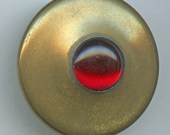 Large Vintage Brass and Red Jewel Button 1 1/8 inch size 9471
