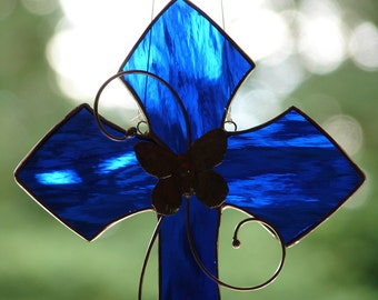 Stained Glass Cobalt Blue Cross