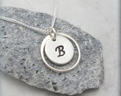 Encircled Initial Charm Necklace Personalized Monogram Jewelry Sterling Silver Ring Circle Custom Simple Bridesmaid Gift (SN736)